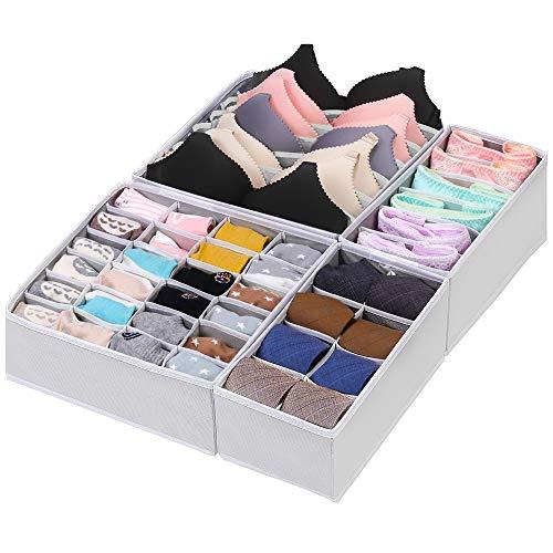 CGBOOM Aufbewahrungsbox für Unterwäsche und Socken, Schrank und Schubladen Ordnungssystem, 4er Faltbox Kleiderschrank Organizer für BHS,Socken, Unterhosen und Kleine Zubehörteile (Grau)