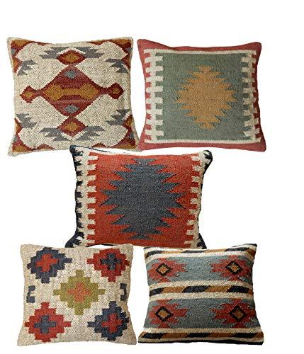 Handicraft Bazarr Fundas de cojín de yute hechas a mano, 5