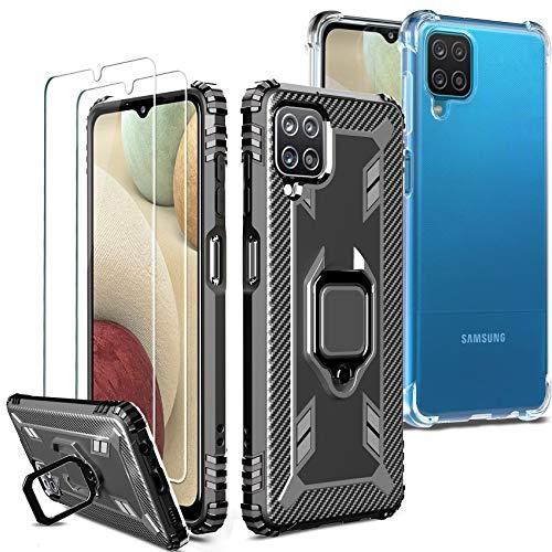 Milomdoi [4 Articulos] 2 Funda +2 Packs Cristal Templado para Samsung Galaxy A12, [2 Styles Case] [Grado Militar Anti-Caída] Soporte Giratorio de 360°Grados con Anillo Dedo TPU Silicona-Negro