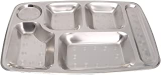 SimpleLifeステンレススチール製6枚入りディナープレート、ディビジョンディナートレイランチ用コンテナフードプレート - キャンピング、キッチンランチ、ディナーまたは毎日の使用に最適