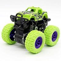 QIQIO 4個人気のクリスマスプレゼント グリーン子供トラック慣性suv摩擦電源車の赤ちゃんボーイズスーパー炎車の子供のギフトのおもちゃ 教育子供の誕生日プレゼント