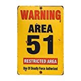 dingleiever-8X 12 Area 51 Metal Sign - Warning Military Restricted Area - Vintage Look