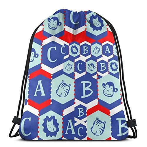 BXBX Plegable Drawstring Backpack Bag Sport Gym Sackpack Cinch Bag for School Yoga Gym Swimming Travel Unisex - Circus Animal ABC