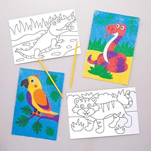 Baker Ross- Dibujos de animales de la selva para decorar con arena (Pack de 8) -Manualidades infantiles para decorar y exhibir