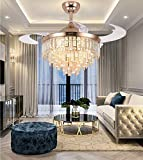 A Million 42' Crystal Ceiling Fan with Light Modern Luxury Chandelier Retractable Blades Remote 3 Speeds 3 Color Changes...