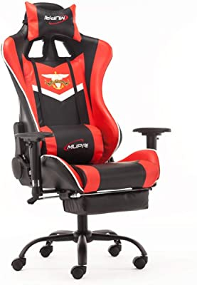 Game Chair Ergonomic Racing Style PC Computer Office Chair with Retractable Footrest and Adjustable Waist and