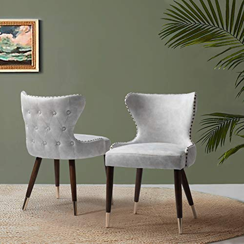 Accent Dining Chairs (Set of 2) Tufted Button Wingback Chair for Living Room-Silver
