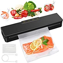 Vacuum Sealer Machine,LOZAYI Vacuum Sealer Compact Design Easy to Clean Safty Antomatic Food Sealer with Dry and Moist Modes for Wet and Dry Food Preservation Black