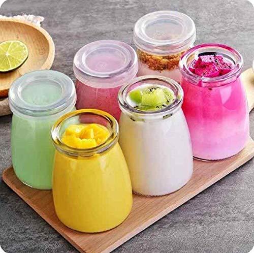 STYLONIC 100ML Yoghurt Jars Pudding Jar with Lid Glass Jars for Yogurt Maker and Milk, Parfait Pack Of (5)