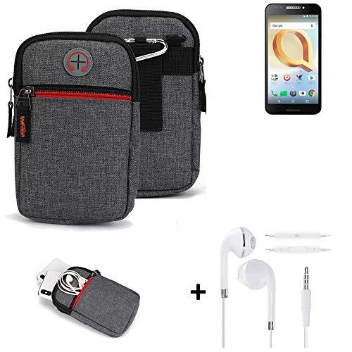 K-S-Trade® Gürtel-Tasche + Kopfhörer Für Alcatel A30 Plus Handy-Tasche Schutz-hülle Grau Zusatzfächer 1x