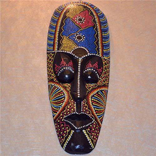 PZAIQ Estatuas Decorativas Talla De Madera Máscara De Color Africano Regalo De Cara Tailandesa Decoración del Hogar Adornos De Escritorio