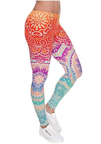 Ayliss Women Leggings Digital Print Yoga Skinny Pants High Waist Gym Elastic Tights,Orange Mandala,XS-M