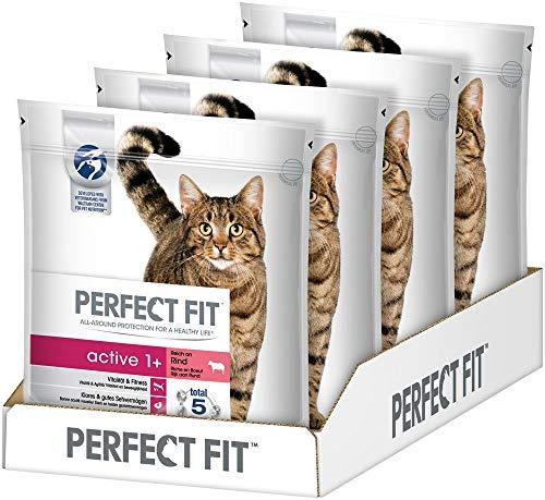 Perfect Fit Katzenfutter Trockenfutter Active Adult 1+ Reich an Rind, 4 Beutel (4 x 1,4kg)