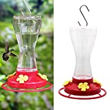 see through plastic hummingbird container with red bottom