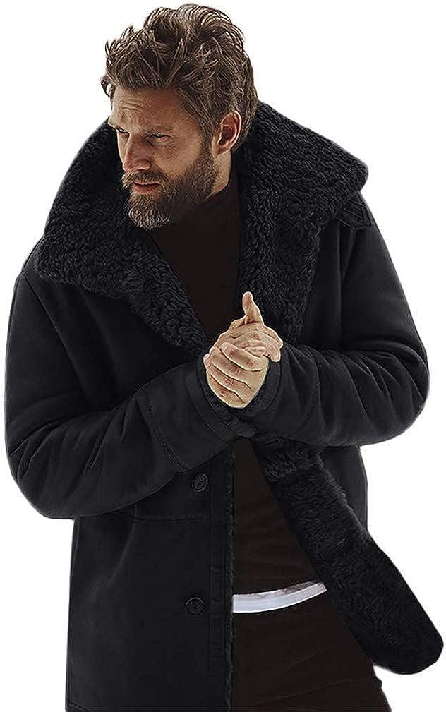 Mens Fleece Winter Jacket Thicken Cotton Detached Casual Coat Turn-Down Collar Medium Length Warm Outerwear