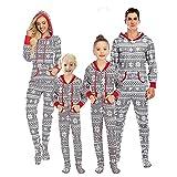 Pijama familiar de Navidad para adultos y niños de una sola pieza, diseño nórdico gris y blanco, con capucha, Mamá, L