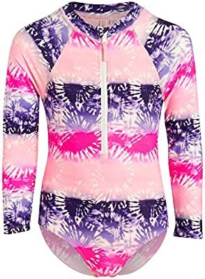 Limited Too Girls Long Sleeve One Piece Rash Guard Swimsuit with Front Zipper (Pink/Tie Dye, 14/16)'