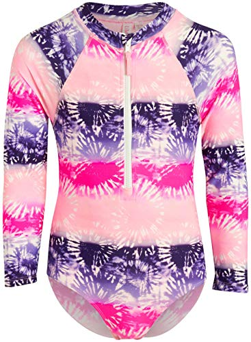 Limited Too Girls Long Sleeve One Piece Rash Guard Swimsuit with Front Zipper (Pink/Tie Dye, 10/12)'
