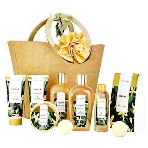 Bad Geschenkset für Frauen SPA LUXETIQUE 10 tlg. Set Vanilla Duft - Handcreme, Duschgel, Schaumbad, Bodylotion, Badesalz, Badeschwamm und Geräumige Handtasche, Geschenke zu Ostern, Muttertag
