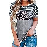Tops y Blusas Mujer Ropa Verano Manga Corta Rayas Estampado Leopardo Camiseta 2019 Camisa de Moda Temperamento Mujer Glamour de Las Mujeres Regreso a la Temporada Escolar