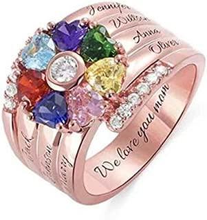La Familia Nombre Personalizado Grabado Anillo 5 birthstones y 5 Nombres Sterling Silver Promise Ring