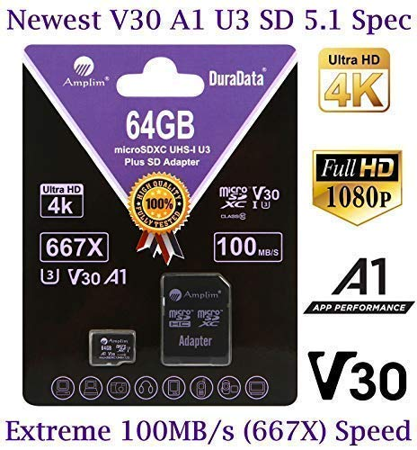 64GB Micro SD Card Plus Adapter Pack, Amplim 64 GB MicroSD SDXC Class 10 Pro U3 A1 V30 Extreme Speed 100MB/s UHS-I UHS-1 TF XC MicroSDXC Memory Card for Cell Phone, Nintendo, Galaxy, Fire, Gopro