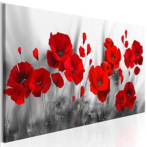 decomonkey Bilder Blumen Mohnblumen rot 120x40 cm 1 Teilig Leinwandbilder Bild auf Leinwand Vlies Wandbild Kunstdruck Wanddeko Wand Wohnzimmer Wanddekoration Deko Natur Weiß modern