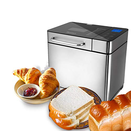 Hopekings Panificadora Automática,Máquina Programable para Hacer Pan,con 19 Programas, 500g-1000g,15H Temporizador de Citas,Pantalla LCD, sin BPA, Certification FDA,para Pan Sin Gluten