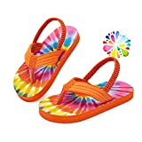 Smilore Toddler Flip Flops Boys & Girls Sandals | Kids Water Shoes for Beach and Pool (Tie dye, 22/23)
