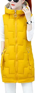 Macondoo Women's Cotton Padded Winter Puffer Vest Hooded Quilted Down Vest Coat