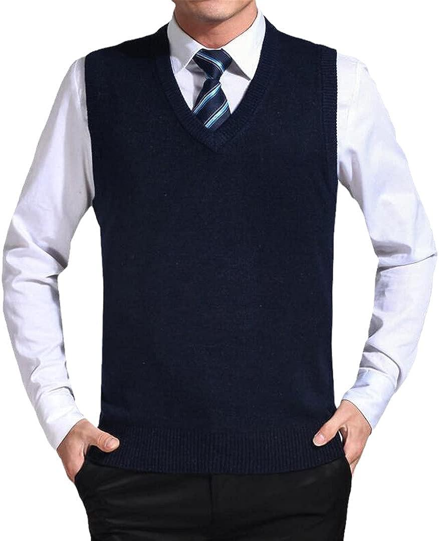 GYSAFJ Mens Casual Solid Color Sweater Vest Men Cashmere Sweaters Wool Vest