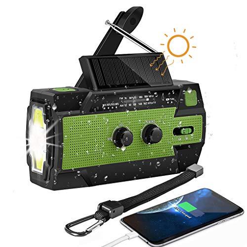 Solar Radio, Kurbelradio AM/FM Wiederaufladbare Dynamo Radio Wasserdicht LED Dynamo Lampe Powerbank für Wandern,Camping,Ourdoor,Notfall (Grün 2)