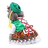 Amakunft Oktoberfest Sweety - Traje de mascota con sombrero, disfraz de perro para fiesta festival cachorro vestido ropa con lazo y encaje para el día de Navidad