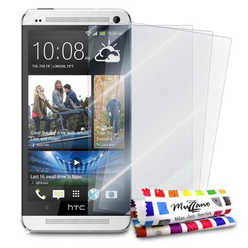 3 Protecciones de Pantalla transparentes para HTC ONE'UltraClear' Originales de MUZZANO de Calidad PREMIUM - Tratamiento Anti-rayado, Anti-rastro y Anti-polvo + De regalo 1 ESTILETE + 1 PAÑO MUZZANO