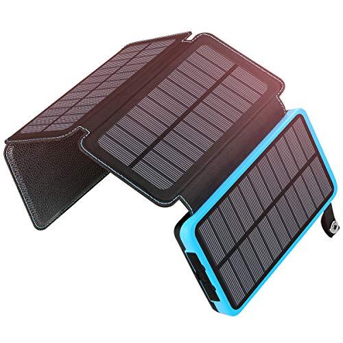A ADDTOP Cargador Solar Portátil 25000mAh Impermeable Power Bank con 4 Paneles Batería Externa Dual USB para iPhone, iPad y Samsung Galaxy y más