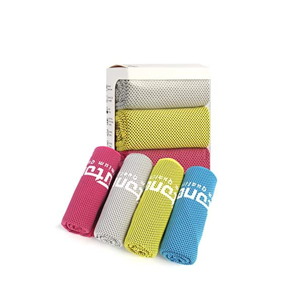 """Futone Cooling Towel, Gym Towels, Sweat Workout Towels, Cooling Neck Wrap Scarf, Compact Sports Towels for Men Women, Cooling Face Mask Cover, 40″ x 12,"""" 4 PCS (Red, Blue, Yellow, Gray)"""