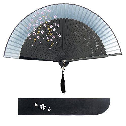 Dazone Blütenkirsche Muster Spitze Bambus Faltbar Handfächer für den Sommer Anlässen, Gartenfeste, Hochzeiten im Freien, Tuch Dekoration (Tinte)