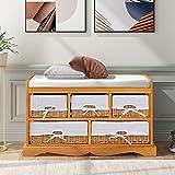 ADFBL Banco de almacenamiento marrón con cojín, zapatero con 2 cestas de almacenamiento y asiento de cojín Pasillo