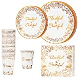 Crisky Thanksgiving Disposable Napkins Plates Cups Set for Autumn Thanksgiving Dinner Party...
