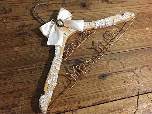mylifemylove Brautkleiderbügel mit Spitze, Custom Lace Hanger Brautkleiderbügel Brautkleiderbügel Brautkleiderbügel Set - with Lace-for Bride