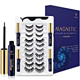 Magnetic Eyelashes with Eyeliner Kit - SEVENCROWN 3D Magnetic Lashes Natural Looking with 4 Tubes of Waterproof Eyeliner,Upgraded 5 Magnets False Eyelashes Easy to Apply for Women.10 Pairs.