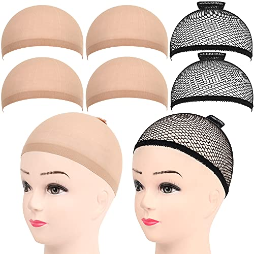 6 Stück Haarnetz Nylon Wig Cap Perücke Kappen, FANDAMEI Perückenkappe Set Perückennetz Unterziehhaube Dehnbare Elastische Atmungsaktive 4 Nackt Beige Perückenkappen + 2 Schwarze Haarnetz