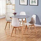 GOLDFAN Esstisch und 4 Stühle Set Modern Weiß Stühle mit Grau Esstisch Runder Tisch für Wohnzimmer Küche 90cm