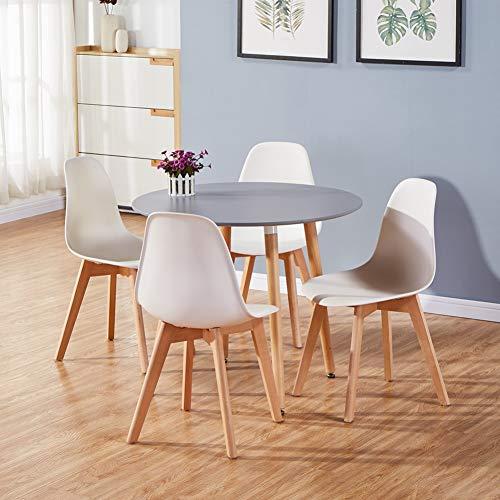 GOLDFAN Mesa de Comedor y 4 Sillas Moderna Redonda de Cocina con Patas de Madera Maciza Oficina Salón 80 cm, Blanco + Gris