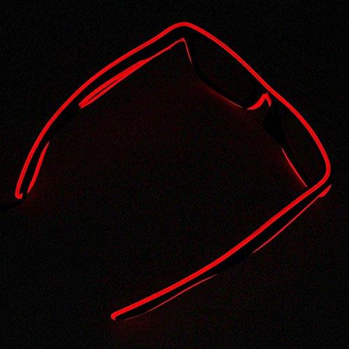 LED EL Draht Brille Leuchten Glühen Blinkend Sonnenbrillen für Partys Rot