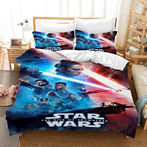 NOOS Star Wars Bedding for Kids and Teens 3D Star Wars Duvet Cover Set Queen Size, Best Gift for Kids Soft Microfiber Bed Set 3PC(1 Duvet Cover and 2Pillowcases) No Comforter Inside