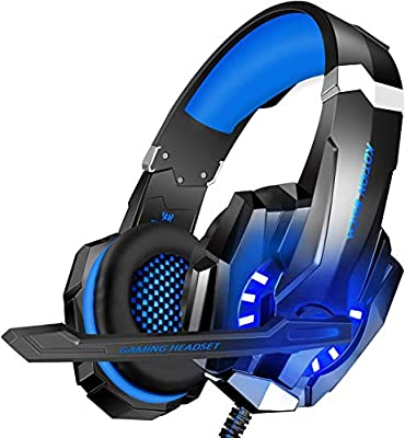 BlueFire Stereo Gaming Headset for PS4, PC, Xbox One Controller, Noise Cancelling Over Ear Headphones with Mic, LED Light, Bass Surround, Soft Memory Earmuffs for Laptop Nintendo Switch Games (Blue) from BlueFire