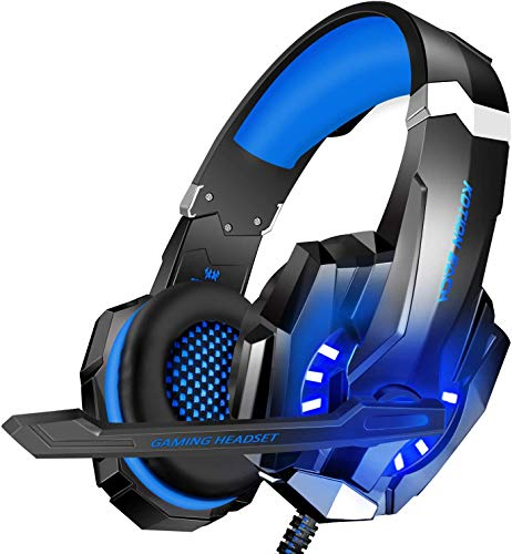 BlueFire 3.5mm Gaming Headset for Playstation 4 PS4 Xbox One Games Tablet Laptop, Over Ear Headphone with Mic and LED Light for Laptop Mac Nintendo Switch Controller (Blue)