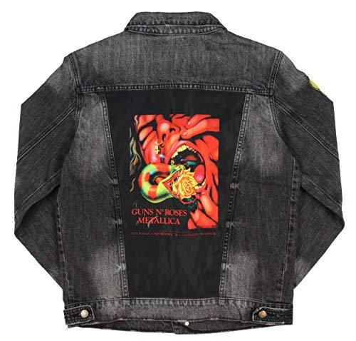 Dragonfly Men's A Day On The Green Concert September 1992 Denim Jean Jacket (Black Acid Wash, 3XL)