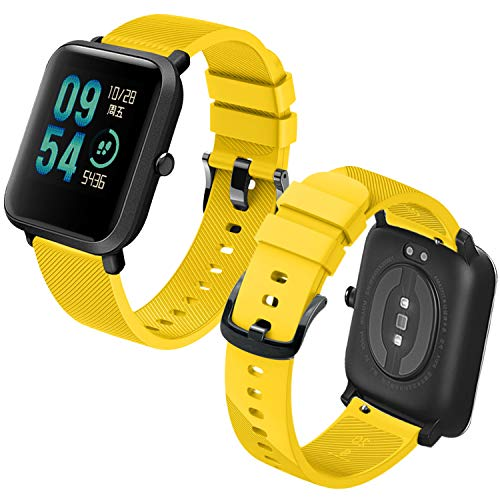 Th-some Correa para Amazfit Bip Impermeable Universal - Reemplazo de Pulsera Ajustable para Xiaomi Huami Amazfit Bip bit Lite Youth/Amazfit GTR 42mm Watch, Amarillo Sin Tracker